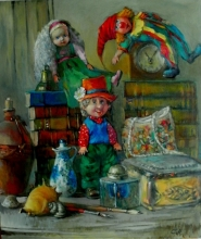 Still Life with Dolls - oil, canvas