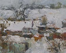 Village In The Snow - oil, canvas