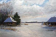Frozen Lake. Omsk region, Russia - oil, canvas