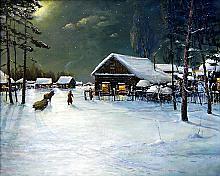 Christmas Eve Night - oil, canvas