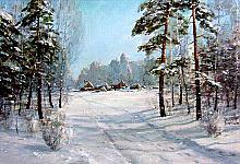 Siberian Village - oil, canvas