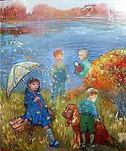 Kids In The City - oil, canvas