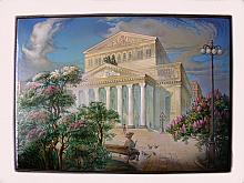 At The Bolshoi Theater - a box, Fedoskino lacquer painting technique