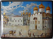 The Cathedral Square - a box, Fedoskino lacquer painting technique