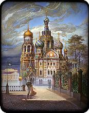 The Church Of The Saviour On Blood - a box, Fedoskino lacquer painting technique