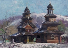 Church In The Monastery In The Village Dora - oil, canvas