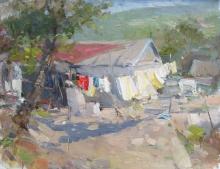 Rustic Patio In Burgustan - oil, canvas