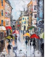 Rainy Milano - oil, canvas