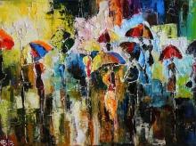 Evening Promenade - oil, canvas