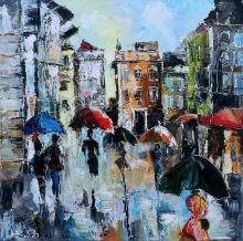 Rainy Day In Sunny Italy - oil, canvas