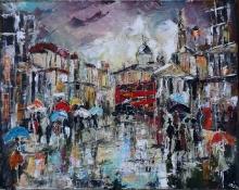 Rain In London - oil, canvas