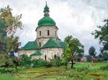 Church In Sednevo - gouache, tempera, mixed technique