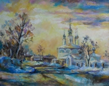 Sunset Over Archangel Church - oil, canvas