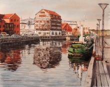 Klaipeda In The Morning - watercolors, paper