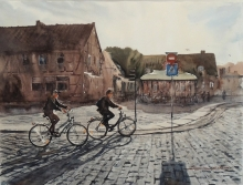 Bicycles And Cyclists - watercolors, paper