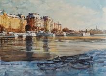 Stockholm - watercolors, paper