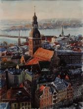 Riga - watercolors, paper