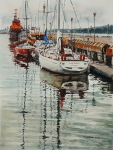 Pier - watercolors, paper