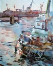 Hamburg - watercolor, paper