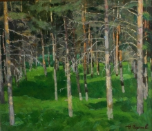 Pine Forest - oil, fireboard